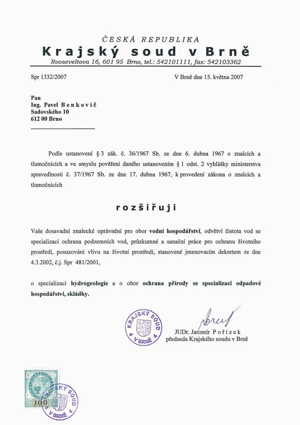 Jmenovací dekret soudního znalce 2007