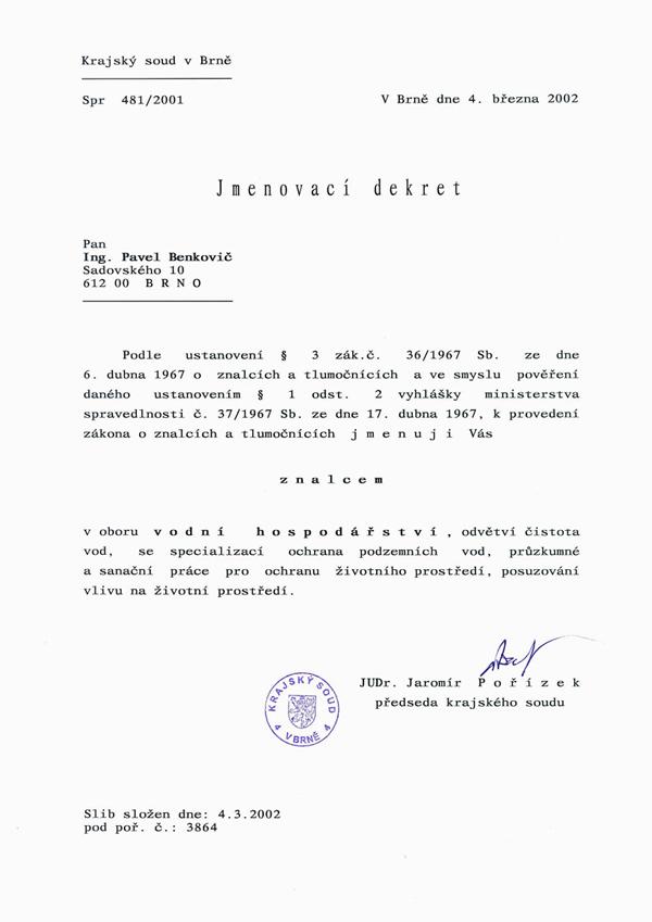 Jmenovací dekret soudního znalce 2002